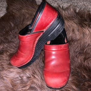 Red Dansko Oiled Leather Clogs 37